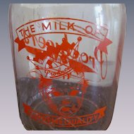 Producers Dairy Baby Face Quart Milk Bottle, Peoria Illinois, Orange Lettering, Embossed