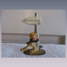 Cast Iron Figural Souvenir Bar Ware Bottle Opener, Drunk Man Hanging on Street Post, Skyline Drive Virginia