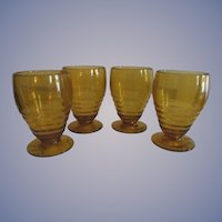 Four Paden City Penny Line with Rings 10oz Tumblers, Golden Amber + Another 4pc Set Available