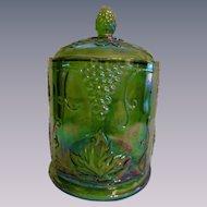 Indiana Green Carnival Harvest Canister Jar, Vintage Grape & Leaf