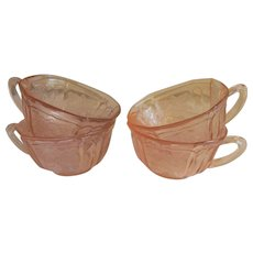 Four Pink Depression Cabbage Rose Sharon Coffee Cups by Federal Glass Company + Set of 4 More Available