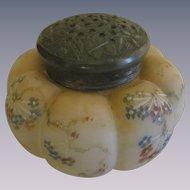 "Mt Washington Melon Tomatoe 4"" Sugar Shaker Jar with Decorative Flower Butterfly Lid"
