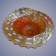 Early Fenton Marigold Carnival Glass Open Edge Basketweave Nut Dish