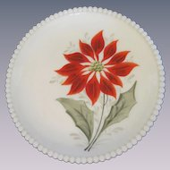 Westmoreland Beaded Edge Poinsettia Plate