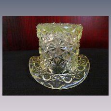 Fenton Canary Yellow Daisy and Buttons Mini Hat Toothpick Holder