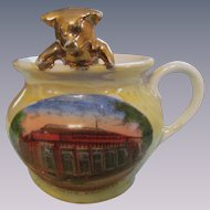 German Souvenir Pig in Chamber Pot, Post Office Kewanee Illinois