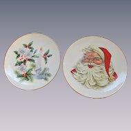 Pair of Western Stoneware Christmas Plates