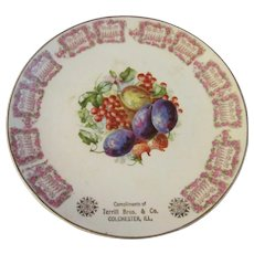 1910 Colchester Illinois Cadendar Plate, Terrill Bros & Co