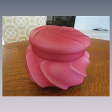 Large Victorian Cranberry Pink Cased Swirl Vanity Dresser Powder Jar Box
