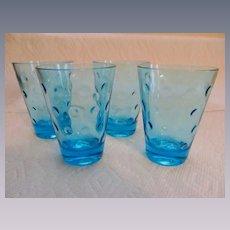 "4 Hazel Atlas Capri Azure Blue Dot  3 3/4"" Juice Barware Tumblers + 8 More Available"