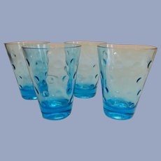 "4 Hazel Atlas Capri Azure Blue Dot  3 3/4"" Juice Barware Tumblers + 8 More Available"