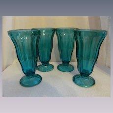 Four Blue Hocking Tulip Soda Sundae Parfait, Ice Cream Dessert Glasses