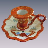 Oriental Hand Painted Japan Japanese Handled Candlestick, Orange/Gold Mark