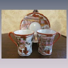 Japan Oriental Hand Painted Geisha Girls Cups & Saucer with Japanese Writing on Cups
