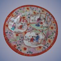Oriental Geisha Girl Hand Painted Diapered Plate, Red Mark