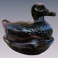 Purple Slag Duck on Nest Woven Basket Covered Dish by Imperial Glass Company