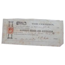 1865 Hawkeye Seeder & Cultivator Share Certificate