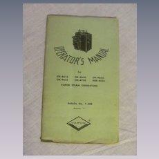 1964 Operators Manual for Vapor Locomotive Steam Generators