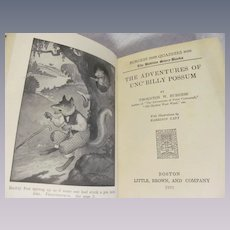 1923 The Adventures of Unc' Billy Possum, The Bedtime Story-Books by Thornton W Burgess, Illustrated, Publ Little Brown and Company