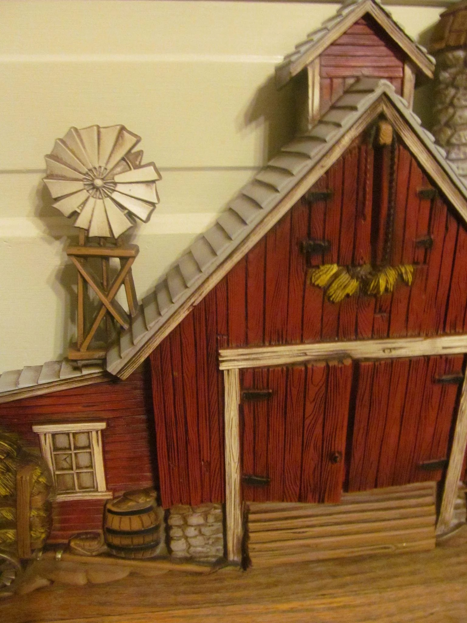 1974 Large Burwood Products 3 D Barn Wall Plaque Decor