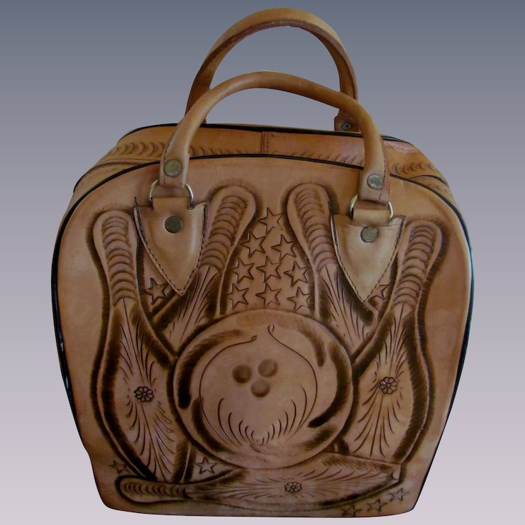 Leather Hand Tooled Mexico Bowling Ball Bag Woman Men Uni