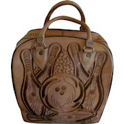 Leather Hand Tooled Mexico Bowling Ball Bag:Woman:Men:Unisex