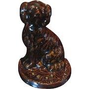 Illinois Pottery Stoneware Spaniel Dog Doorstop, Rockingham Glaze by Galesburg Pottery Company