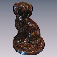 Illinois Pottery Stoneware Spaniel Dog Doorstop, Rockingham Glaze by Galesburg Pottery Company