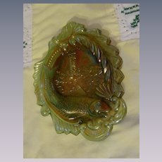 Green Carnival Seacoast Pin Tray by Millersburg