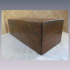 Oak File Box Dovetailed, Index Cards, Interior Slide