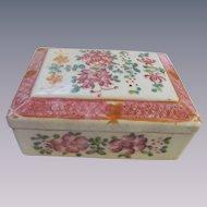 Chinese Enameled Hand Painted Box, Orange China Mark
