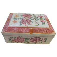 Chinese Enameled Hand Painted Box, Orange China Mark