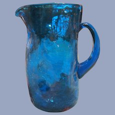"Blenko Blue 10"" Dimpled Crackled Pitcher, Labeled"