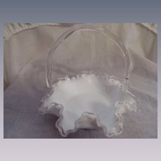 "Fenton Silver Crest Ruffled Crimped  8"" Basket"