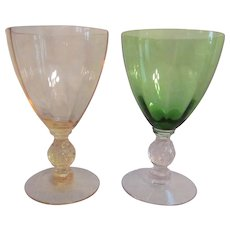Cambridge Aurora Optic Goblets, Ball Stem, Canary and Green