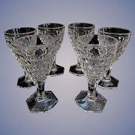 6 Fostoria American Small 2oz Wine Goblets, Hex Foot