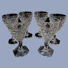 6 Fostoria American Small 2oz Wine Goblets, Hex Foot