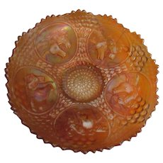 Fenton Carnival Dark Marigold Horse Horsehead Medallion Bowl, Berry and Leaf Circle Exterior