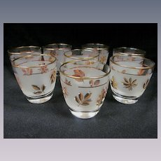 8 Libbey Gold Leaf Barware, On the Rocks Old Fashioned Tumblers