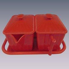 Red Plasmetl Plastic Creamer Sugar Tray