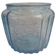 Blue Mayfair Open Rose Cookie Jar Base by Federal Glass Co