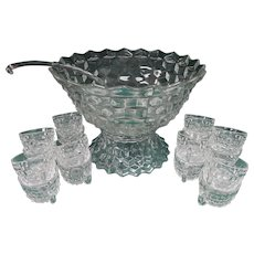 Fostoria American Punch Bowl Set with Pedestal, Glass Ladle, 16 Cups