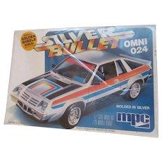 Omni 024 Silver Bullet, MIB 1980 MPC 1/25 Scale Model Car Kit #1-0710,