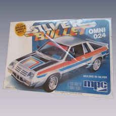 Omni 024 Silver Bullet, MIB 1980 MPC 1/25 Scale Model Car Kit #1-0710,