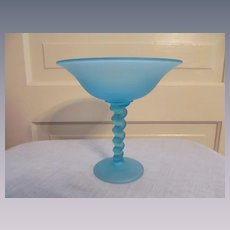 "Tiffin Blue Satin Spiral Twisted Stem 7 1/4"" Compote Comport Dish"