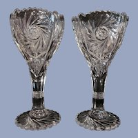 "Pair Imperial EAPG Pinwheel and Hobstar 9 1/4"" Vases"