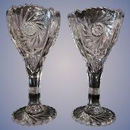 """Pair Imperial EAPG Pinwheel and Hobstar 9 1/4"""" Vases"""