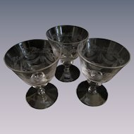 3 Crystal Etched Drape and Tassel Sherry Barware Stems
