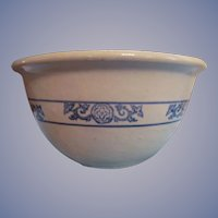 Early Monmouth Western Stoneware Blue Stencil Mixing Bowl