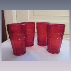 Four Mt Vernon Viking Ruby Tumblers